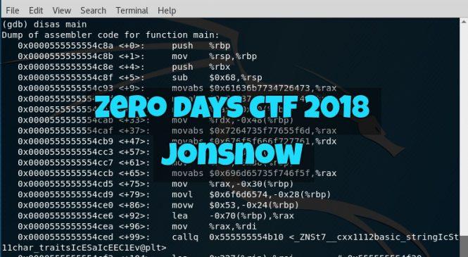 "ZeroDays CTF 2018 – ""JonSnow"" Challenge"